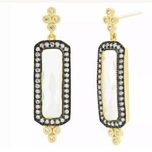 Freida Rothman Pave Halo Large CZ Drop Earrings